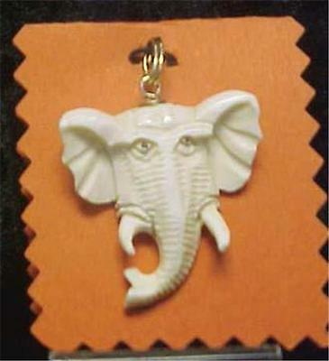 Vintage Carved Elephant Pendant-With Gold Colored Slip Ring No Chain = 8831