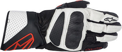 ALPINESTARS SP-8 Leather Leather Motorcycle Gloves (Black/White/Red) Choose Size