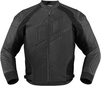ICON HYPERSPORT PRIME Leather Motorcycle Jacket (Stealth/Black) Choose Size
