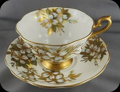 Royal Albert Heavy Gold Dogwood Cup & Saucer 3490 Avon Shape Stunning