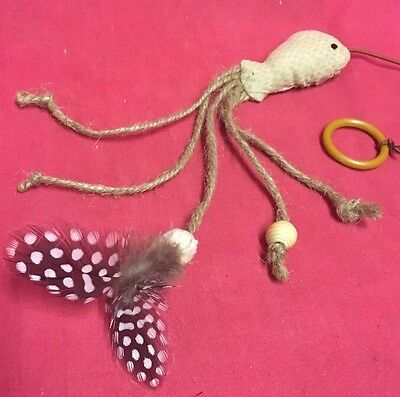 Cat Kitten Toys Fish On Elastic with Feather Tail Interactive Playful Teaser Toy