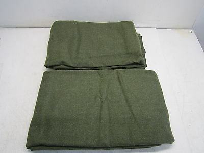 """NEW Wool Army Blanket Olive Green 66"""" by 90"""" Lot of 2***"""
