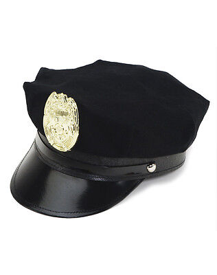 Police Policeman Officer Cop Party Costume Hat Black Cap Gold Badge - Adult Size