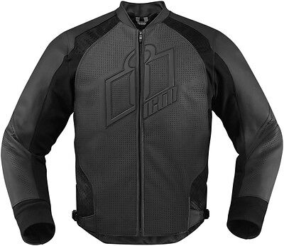 ICON HYPERSPORT Leather Motorcycle Riding Jacket (Stealth/Black) L (Large)