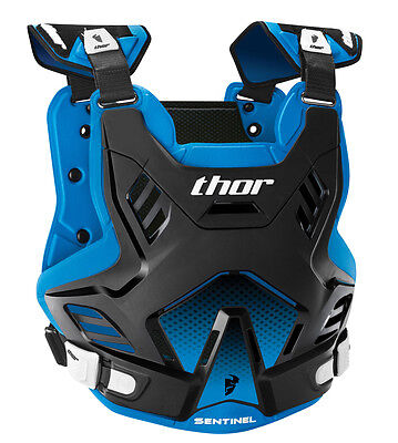 THOR MX Motocross Kids SENTINEL GP Chest Protector/Roost Guard (Blk/Blue) SM-MD