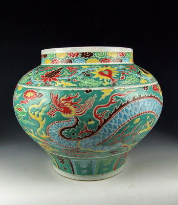 China Antiques Five-Colored Porcelain Pot With Dragon Pattern