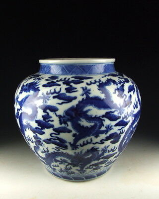 China Antiques Blue&white Porcelain Pot W Dragon Pattern