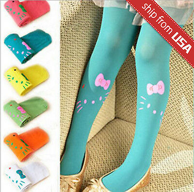 Girls Baby Stretch Color Stockings Tights Pants Warm Cute Cat Bow Tie 5-10 years
