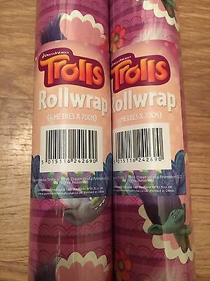 4m x 70cm 1 Roll Trolls Gift Wrap Wrapping Paper