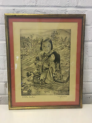 Vintage Willy Seiler Signed Etching Print Titled Little Mother