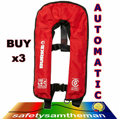 3X Burke Automatic Inflatable Red 150N Lifejacket (Pfd1) Aust Standard As4758.1