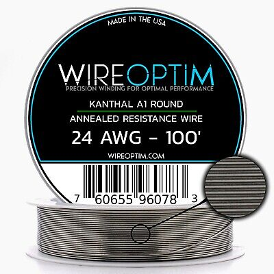 Kanthal 24 AWG Wire 100' Roll 0.51mm , 2.04 Ohms/ft Resistance