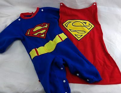 DC Superman Halloween Costume Infant Boy Size 1-2 Baby 6-12m Romper by Rubie's