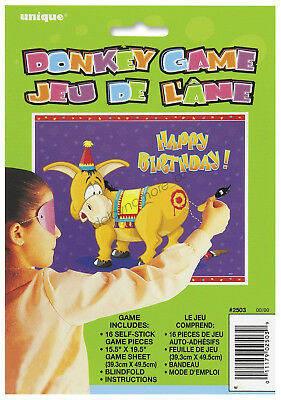 Happy Birthday Party Favours Fun Games Pin The Tail On The Donkey Kids 18 21
