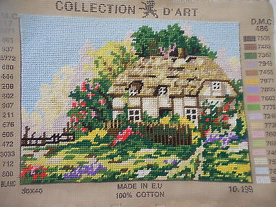 Tapestry Completed Collection D'art 30 X 40  Thatched Cottage