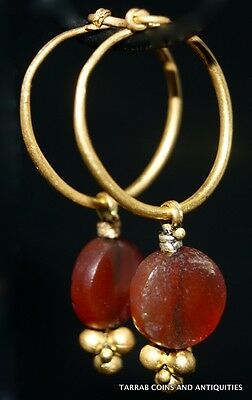 Ancient Roman - Egyptian Gold & Carnelian Earrings, 30 B.c. - 100 A.d. Charming!