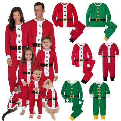 Family Matching Christmas Pajamas Set Santa Claus Women Kids Sleepwear Nightwear