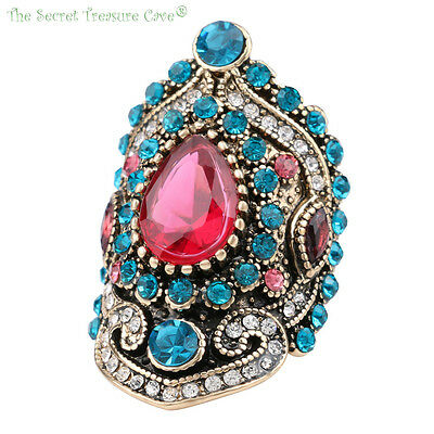 Women's Exotic Turkish Mosaic Style CZ Sapphire Ruby Resin Fashion Rings! NEW!!!