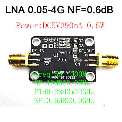 Low Noise LNA 0.05-4G NF=0.6dB RF amplifier FM HF VHF / UHF Ham Radio