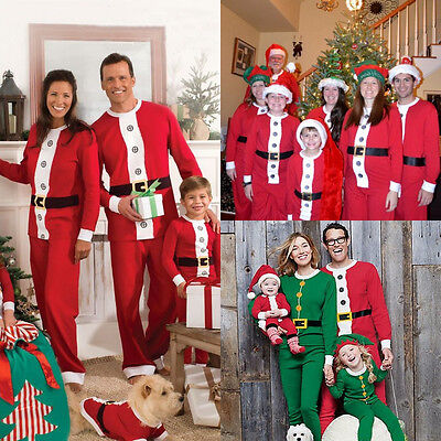 Christmas Family Match Pajamas Set Santa Claus Women Kids Nightwear Sleepwear US