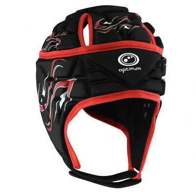 Optimum Inferno Rugby Headguard Scrumcap Black / Red