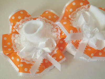 Girls Romany Bling School Dance Party Wedding Frilly Socks In Orange With Spots~