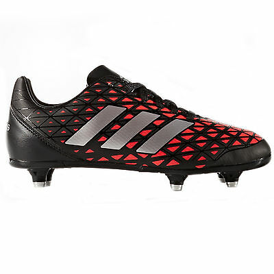 adidas Kakari SG Soft Ground Kids Rugby Boot Shoe Black/ Red