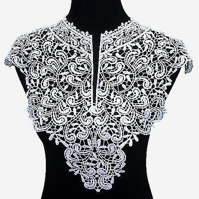 1pc White Deep V Neck Lace Neckline Flower Collar Charming Sewing Applique Craft