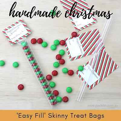 x100 EASY FILL Skinny Treat Tube Bags + Clear Tube - Christmas Xmas favour gift