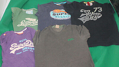 Job Lot Wholesale 5 Vintage Genuine Superdry T Shirts Tees Mens Size Vary Hj32