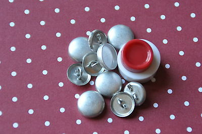 10 x self cover shank back buttons size 20 (12mm) + TOOL