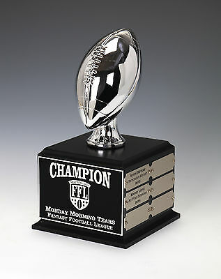 Fantasy Football Perpetual Trophy  12 Year  Small Size Football Silver Chrome