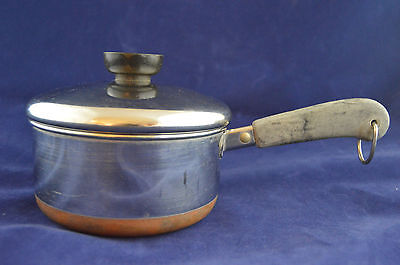 Vintage Revere Ware 1 Quart Sauce Pan Lid Rome NY 82 Stainless Copper Clad