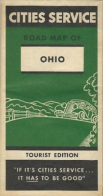 1934 CITIES SERVICE Road Map OHIO Cincinnati Columbus Cleveland Toledo Dayton