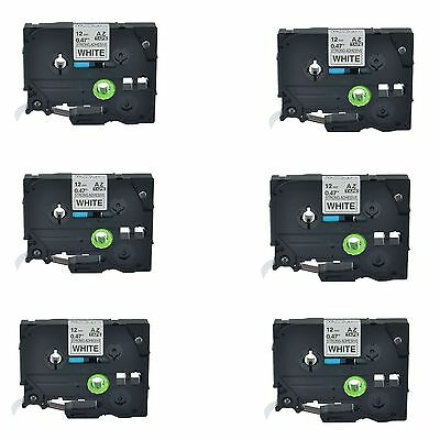6PK TZe S231 TZ-S231 Black On White Label Tape For Brother P-Touch PT-1880 1/2""
