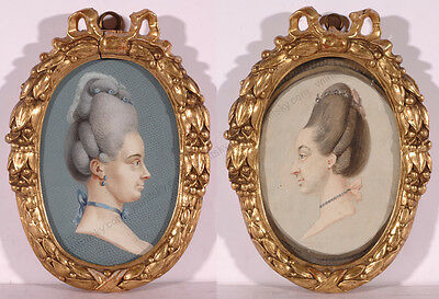 "Carl Friedrich Holtzmann ""Portraits of Sisters"", Two Important Miniatures!, 1778"