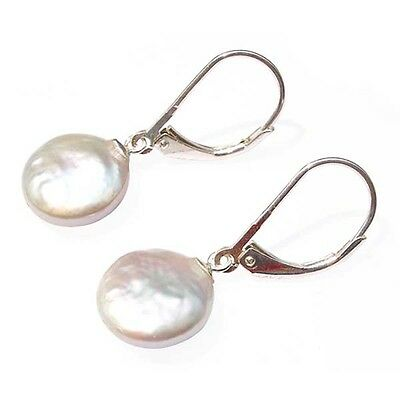 Coin Pearl Earrings 12mm Pearls Sterling Silver 4 Colours Drop/Dangle Leverbacks
