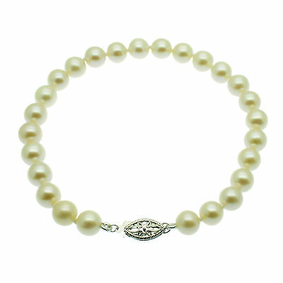 Pearl Bracelet 14ct White Gold 7mm Round White Cultured Freshwater Pearls