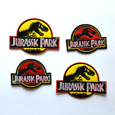 Jurassic Park Movie Logo Embroidered Iron-On Set of 4 Patches Yellow & Red