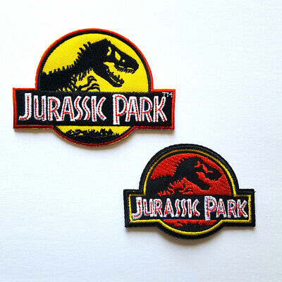 Jurassic Park Movie Logo Embroidered Iron-On Set of 2 Patches Yellow & Red