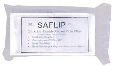 Coin Collecting Flips Saflip Safe Double Pocket 2.5 x 2.5 Mylar 50 Pack Free USA