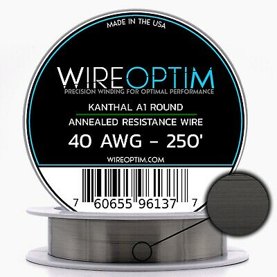 Kanthal 40 Gauge AWG A1 Wire 250' Roll .0799mm , 84 Ohms/ft Resistance