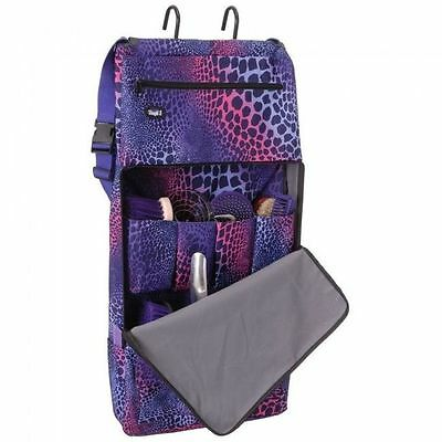 Tough 1 Zippered Hanging Deluxe Portable Grooming Tote Brush Caddy Purple Safari