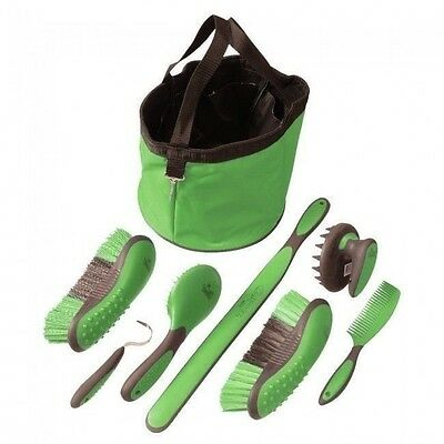 Tough-1 Ergonomic LIME 7 Piece Great Grip Grooming Set w/Tote  Brush Curry Comb
