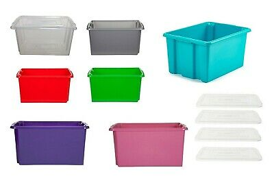 Clear Plastic Storage Boxes With Lid Stackable Stacking Container Tub Coloured