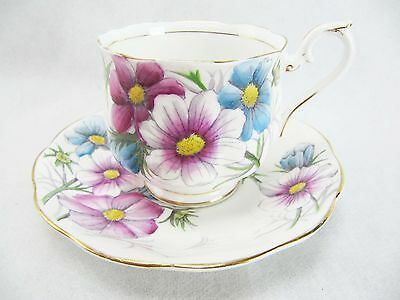 Royal Albert Cup And Saucer Set - Flower Of The Month - Cosmos