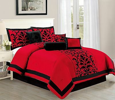 Donna Red Flocking Design 8-Piece Comforter set Over Sized - Bed In Bag