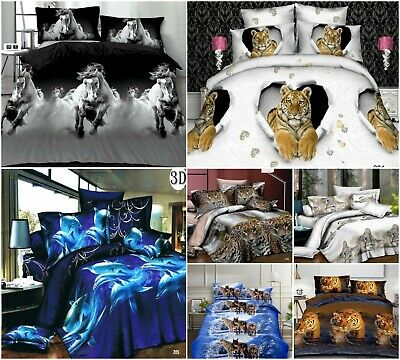 3D Effect Duvet Covers With Fitted Sheets Animal Print 4Pcs Complete Bedding Set