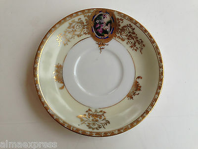 Hand Painted Abura China A1U1 Occupied Japan Gold Embossed - TEA CUP SAUCER