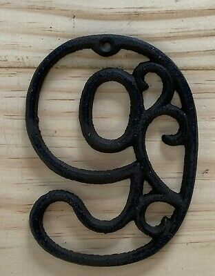 Vintage-Style Cast Iron Decorative Scroll NUMBER NINE (9) Address Street House